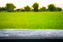 Wooden Board Empty Table In Front Of Paddy Field In Morning Time With Sunlight On Background.