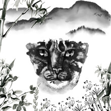 Japanese Ink Pantink With Tiger In The Forest