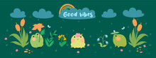 Banner With Cute Frogs, Flowers In The Rain. Vector Graphics.