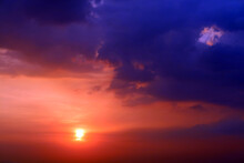 Purple Orange Yellow Red Silhouette Sky In Sunset Back On The Cloud