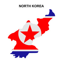 Maps Of North Korea With National Flags Icon Vector Sign Symbol