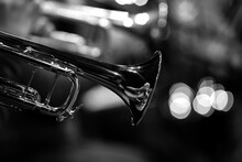 Fragment Of Trumpet In The Orchestra Close-up In Black And White