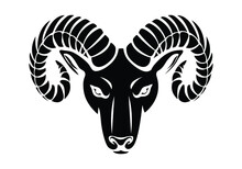 Monochrome Serious Ram Head In Vintage Style Isolated Vector Illustration. Ram Or Mountain Goat With Horns Tattoo Vector.