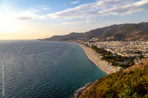Fotografie, Obraz Western Alanya, Tyrkey panorama in high resolution observed from a Fortress of Alanya with famous Cleopatra beach on a shore