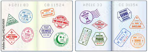 Obraz na plátně set of realistic blank passport pages or empty passport with watermark and stamps or  open foreign passport pages