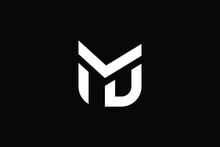 MD Logo Letter Design On Luxury Background. DM Logo Monogram Initials Letter Concept. MD Icon Logo Design. DM Elegant And Professional Letter Icon Design On Black Background. M D DM MD