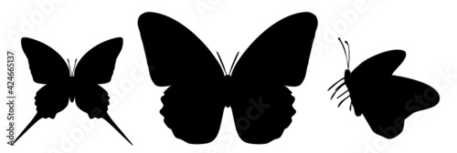 Obraz na plátně Three black butterflies icon, isolated on white background
