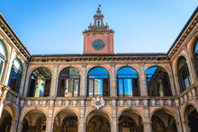 Archiginnasi - Historic Main Building Of University In Bologna City, Italy, View From Inner Court, Italy