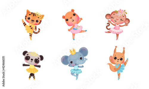 Obraz Cute Mammals with Panda and Elephant in Ballerina Dress and Crown on Head Dancing Vector Set - fototapety do salonu