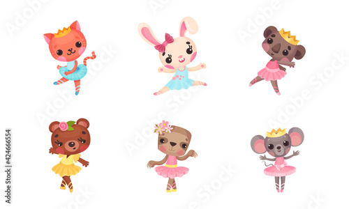 Obraz Cute Mammals with Mouse and Koala in Ballerina Dress and Crown on Head Dancing Vector Set - fototapety do salonu