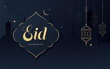 Eid Mubarak Festival Greeting Background Design Template