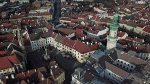 Cinematic Aerial Drone Footage Of The Charming Historical Main Square, Fire Tower Downtown Sopron, A Major Tourist Destination In Győr-Moson-Sopron County, Western Transdanubia In Norhwestern Hungary