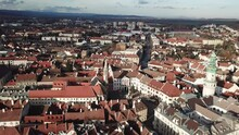 Cinematic Aerial Drone Shot Of The Charming Quaint Historical Inner City, Downtown Of Sopron, A Major Tourist Destination In Győr-Moson-Sopron County, Western Transdanubia In Norhwestern Hungary