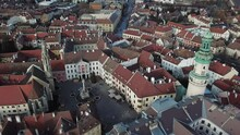 Cinematic Aerial Drone Footage Of The Charming Quaint Historical Inner City, Downtown Of Sopron, A Major Tourist Destination In Győr-Moson-Sopron County, Western Transdanubia In Norhwestern Hungary