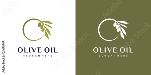 Olive oil combined with the letter O, natural, healthy, logo design inspiration Fototapeta