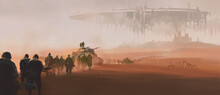 A Group Of Armed Forces Walking In The Desert. In The Distance Is A Huge Alien Mothership Floating In The Air. 3D Illustrations And Digital Paintings.