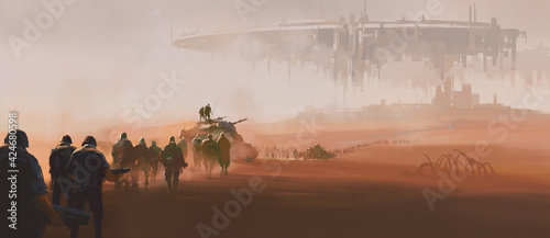 Obraz A group of armed forces walking in the desert. In the distance is a huge alien mothership floating in the air. 3D illustrations and digital paintings. - fototapety do salonu