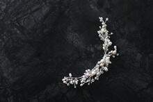 Handmade Decoration Of Pearls And Glass Beads On Dark Gray Marble