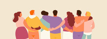 Group Of Hugging Friends Rear View. Friendship And Support Vector Illustration