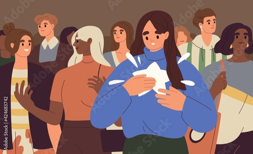 Obraz Person finding, realizing and paying attention to unique talents and differences from other people. Psychological concept of human authenticity, otherness and uniqueness. Flat vector illustration - fototapety do salonu