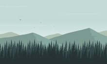Realistic Mountain Views With A Panoramic Pine Trees Silhouette. Vector Illustration