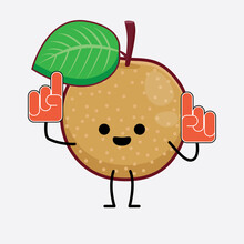 Nashie Pear Fruit Cute Character Illustration With Simple Face, Hands And Legs On Isolated Background