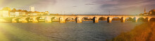 Panoramic View Of Old Bridge Over Saona And Loire River In Macon, France