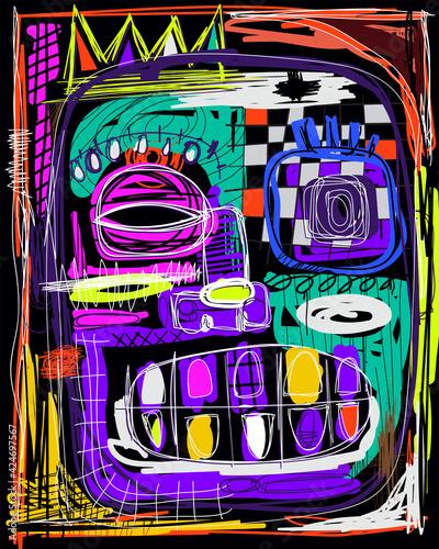 Fototapeta Face abstract. Colour backgrounds. Art illustration
