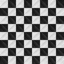 Chessboard And Diagonal Lines. Seamless Squares And Diagonal Black And White Lines.