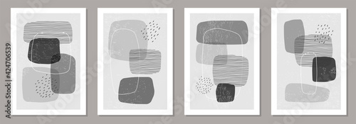 Foto Set of minimalist design posters with abstract organic shapes composition