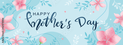 Fototapeta Happy Mother's Day poster and banner template with flowers on light blue background. Vector illustration for women's day, shop, invitation, discount, sale, flyer, decoration. obraz