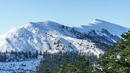 Moutains with snow on biscay winter