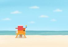 Sea Beach Illustration With Lifeguard's House