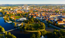 Aerial Cityscape Of Small Czech Town Ceske Budejovice