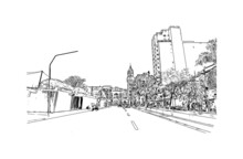 Building View With Landmark Of Duque De Caxias Is The  City In Brazil. Hand Drawn Sketch Illustration In Vector.