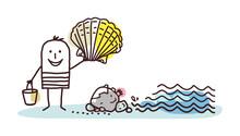 Cartoon Man On The Beach, Picking Shells