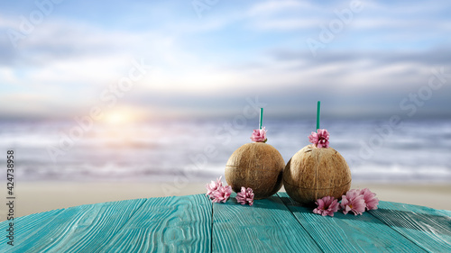 Table background of free space and summer beach
