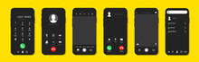 Phone Call Screen Set. Interface For Incoming Call.