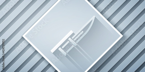 Fotografiet Paper cut Bayonet on rifle icon isolated on grey background