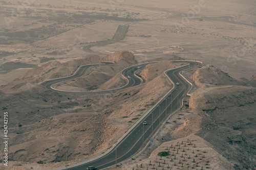 Canvas Viewpoint of twisted dangerous highway on Jebal Hafeet in Al Ain, Abu Dhabi, United Arab Emirates