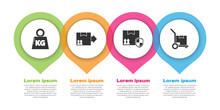 Set Weight, Cardboard Box With Traffic Symbol, Delivery Pack Security With Shield And Hand Truck And Boxes. Business Infographic Template. Vector