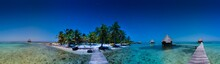 Panorama Of Glover's Reef Atoll, A Small Island Paradise In The Caribbean Sea 35 Miles Off The Coast Of Belize, Known For Diving, Snorkeling And Adventure.