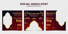 Ramadan Sale Social Media Post Banner Promotion Template. With A Red Gradient Background.