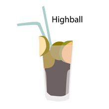 Highball Cocktail Glass Flat Minimalist Hand Drawn Vector Icon EPS10