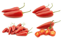 Red Jalapeno Peppers (capsicum) And A Cut One On A White Background
