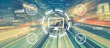 Web Development Concept With High Speed Motion Blur