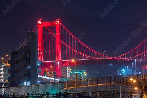 Papel de parede 若戸大橋と都市高速夜景(福岡県北九州市)