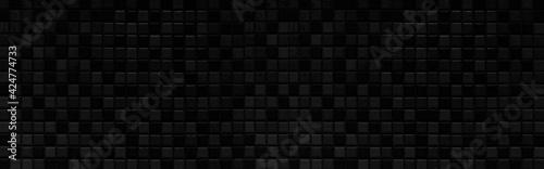 Fototapeta Panorama of New black mosaic wall texture and background seamless obraz