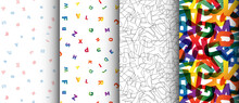 Four Various Pattern With Colorful Letters