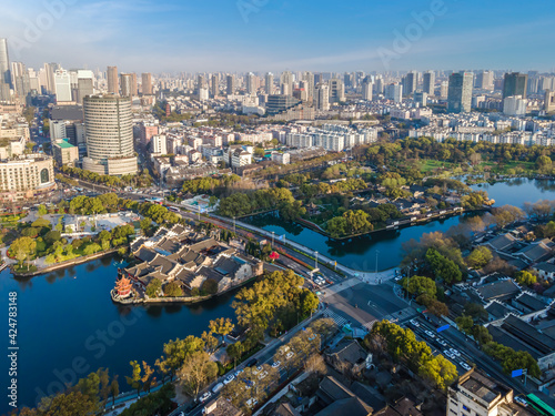 Aerial photography of Ningbo Yuehu Park and city scenery